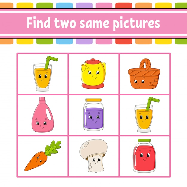 Find two same pictures. Premium Vector