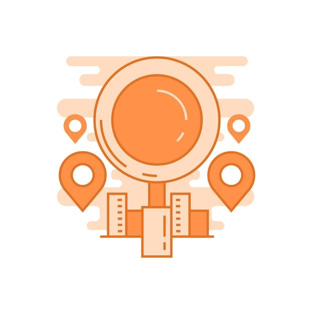 Find us concept Premium Vector