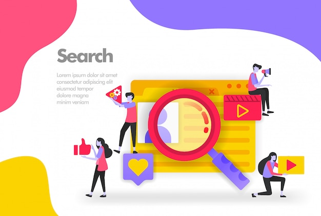 Finding data banner Premium Vector