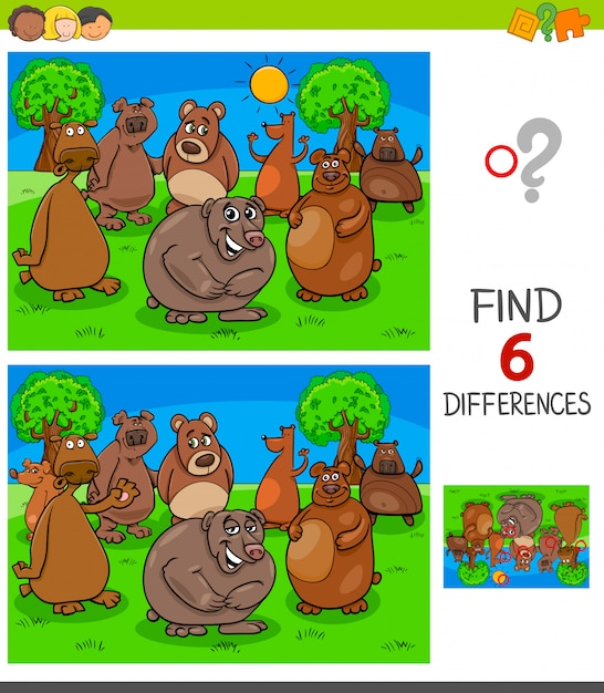 Finding differences game with bears characters Premium Vector