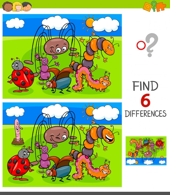 Finding differences game with insects Premium Vector