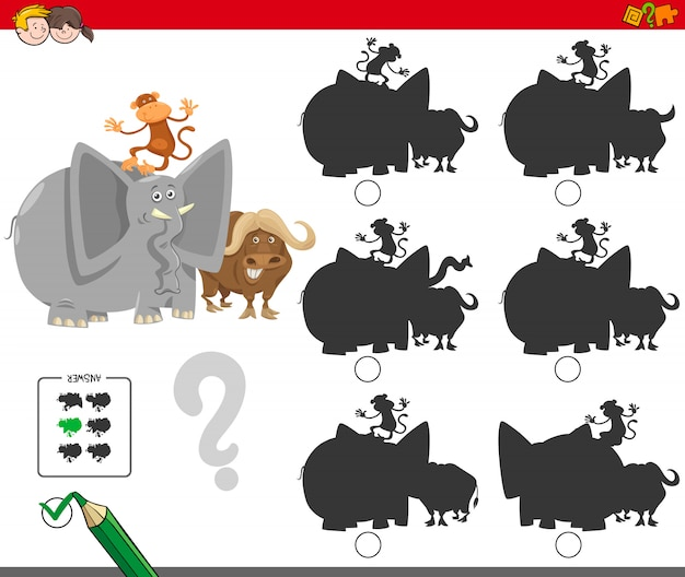 Finding the shadow educational game for children Premium Vector