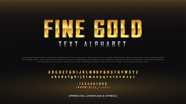 Fine gold text alphabet Premium Vector