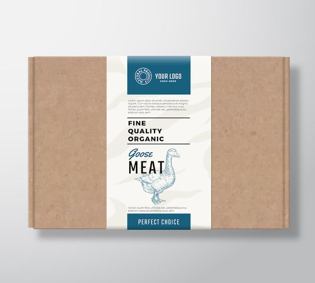 좋은 품질의 유기농 거위 공예 판지 상자. 무료 벡터