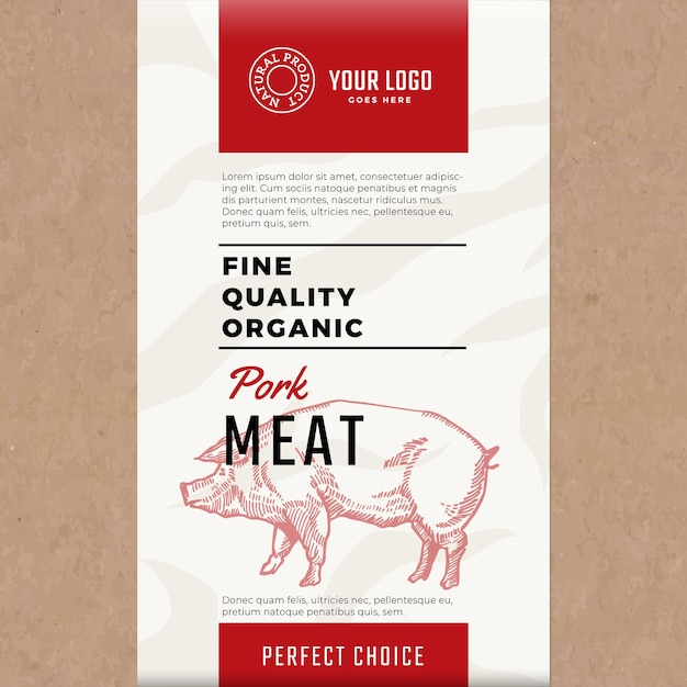 Органическая свинина высокого качества. абстрактная упаковка мяса или этикетка. Бесплатные векторы