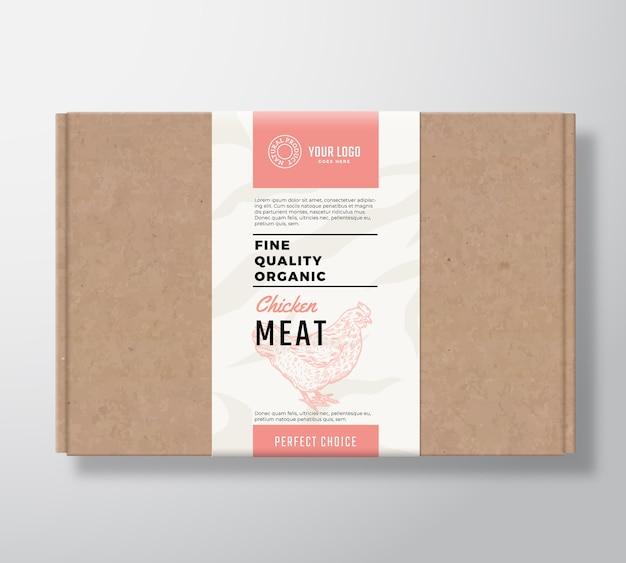 Scatola di cartone artigianale di alta qualità per pollame biologico. Vettore gratuito