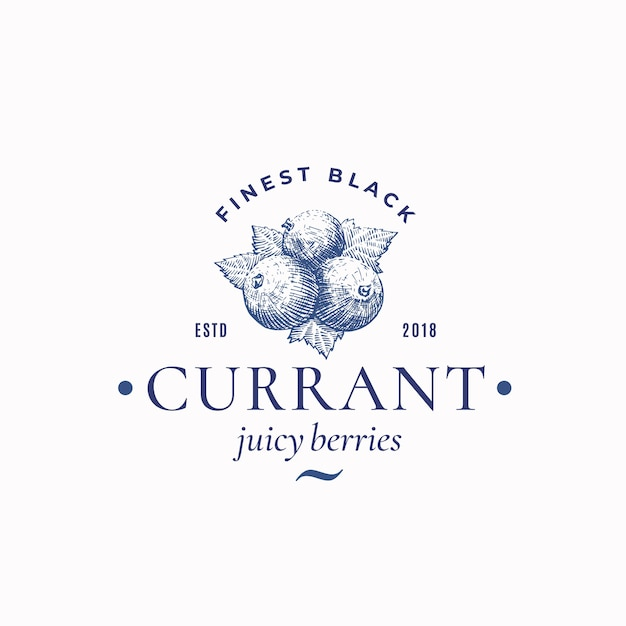 Finest black currant abstract  sign, symbol or logo template. Free Vector