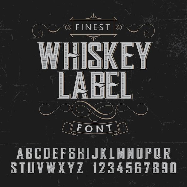 Плакат с этикеткой finest whisky с украшением на черном фоне Бесплатные векторы