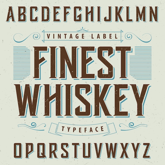 Finest whiskey poster with decoration and ribbon  in vintage style illustration Free Vector