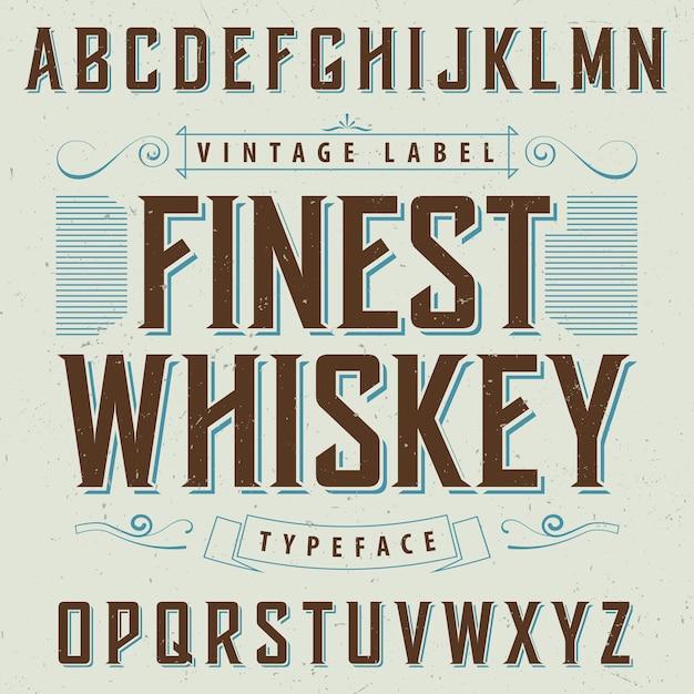 Finest whisky poster con decorazione e nastro in illustrazione stile vintage Vettore gratuito