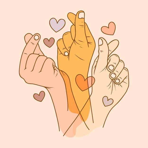 Illustrazione del cuore del dito Vettore gratuito