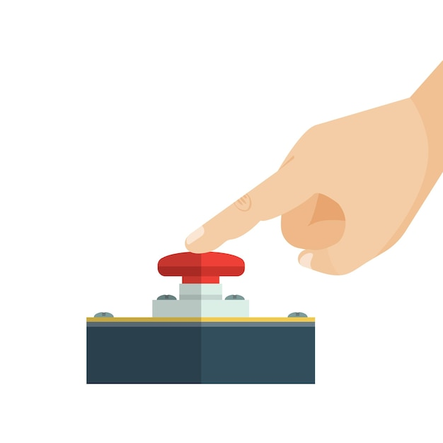 The finger is touching red alert button. Premium Vector