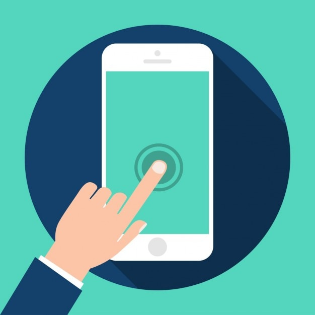 Finger on a mobile phone Free Vector