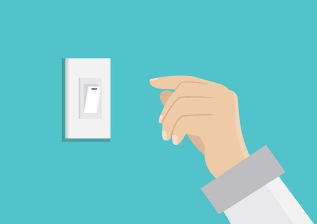 Finger pressing off switch for save power. Premium Vector
