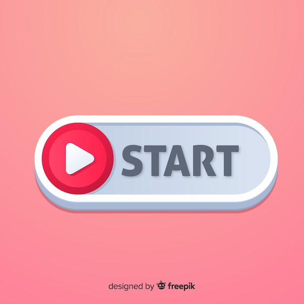 Finger pressing red start button in flat style Free Vector