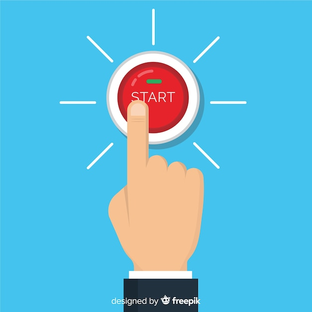 Finger pressing start button Free Vector