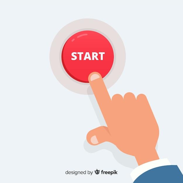 Finger pressing start button Premium Vector