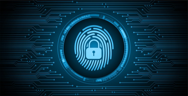 Finger print network cyber security background, closed padlock Premium Vector