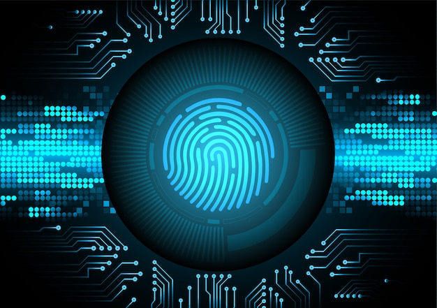 Finger print network cyber security background. Premium Vector