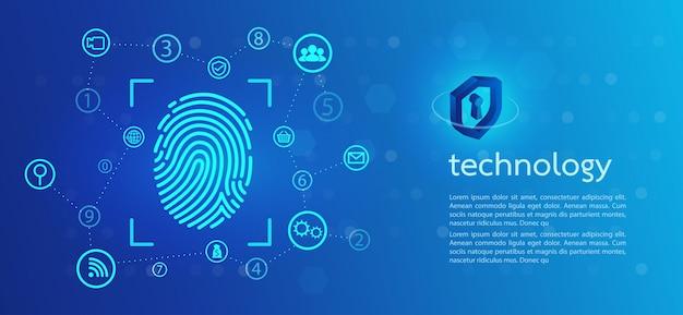 Finger-print scanning. Premium Vector