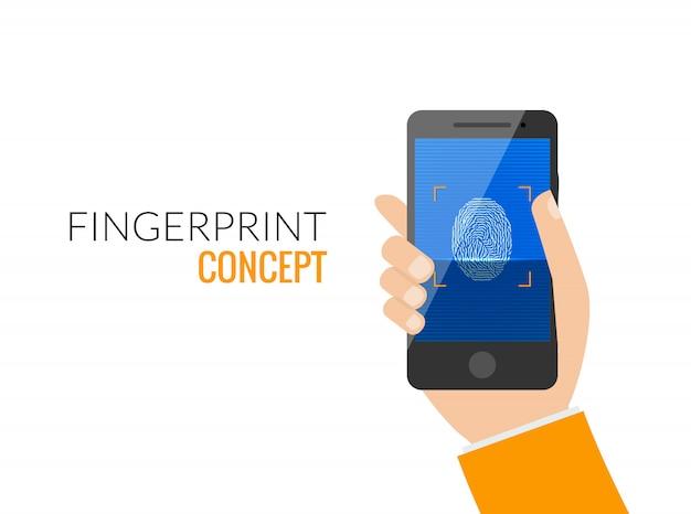 Finger print smart phone access lock Premium Vector