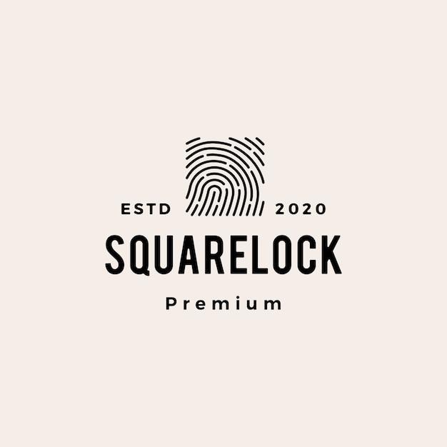 Finger print square lock hipster vintage logo  icon illustration Premium Vector