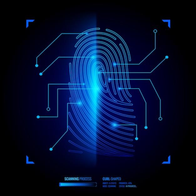 Finger print verification illustration Free Vector