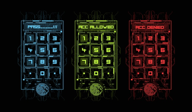 Finger scan in futuristic style. biometric id with futuristic hud interface. fingerprint scanning technology concept illustration. control panel with password. Premium Vector