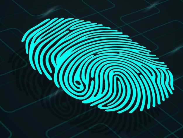 Fingerprint on abstract background Premium Vector