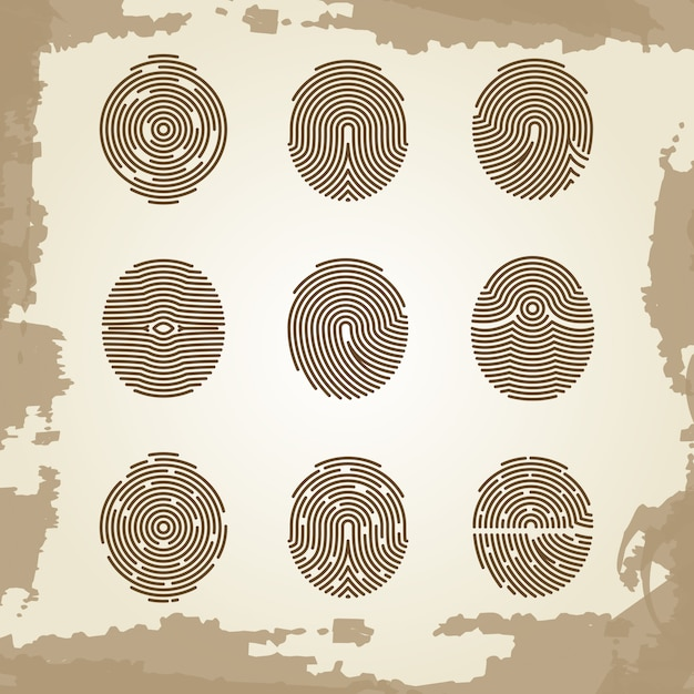Fingerprint collection on grunge vintage backdrop Premium Vector