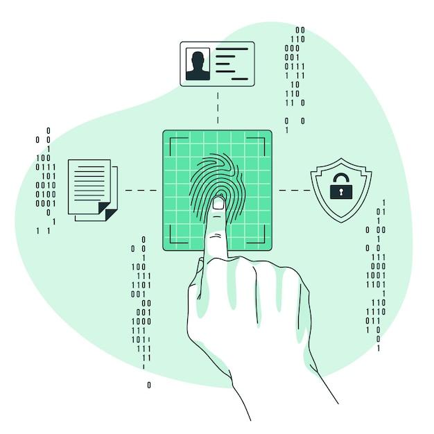 Illustrazione di concetto di impronte digitali Vettore gratuito