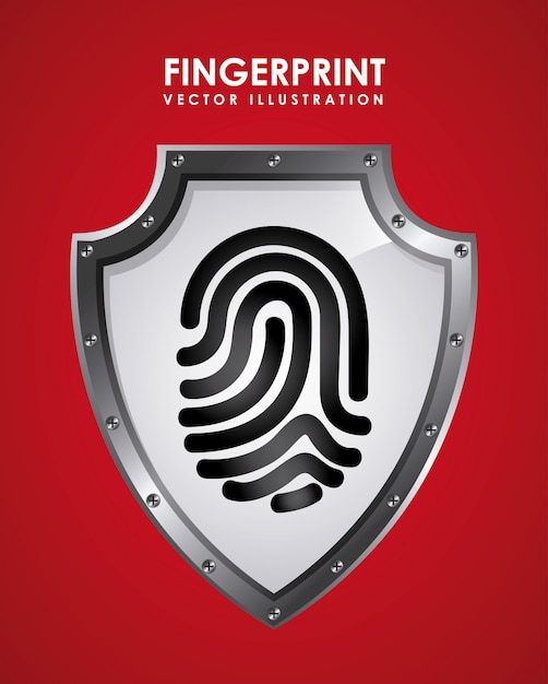 Fingerprint graphic design  vector illustration Free Vector