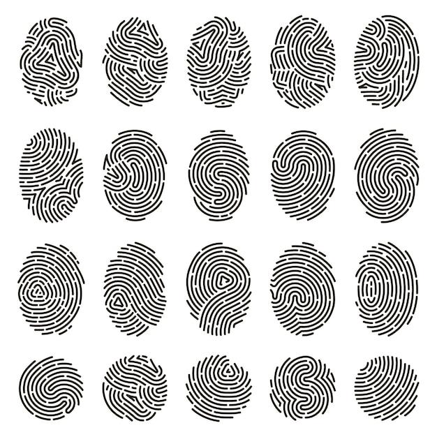 지문 식별. 생체 인식 인간 지문, 고유 한 엄지 손가락 선 각인. 프리미엄 벡터