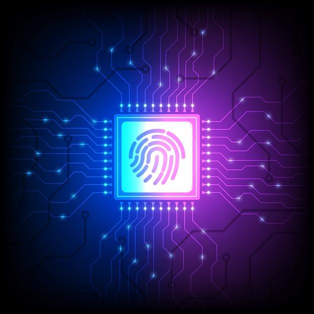 指紋アイデンティティセンサー、スマートフォンのロックを解除、等角投影図 Premiumベクター