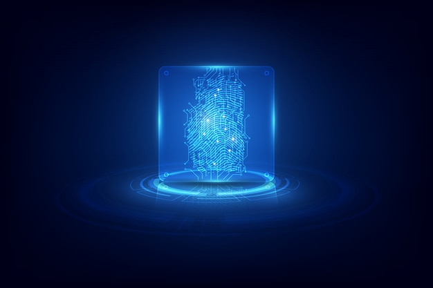 Fingerprint integrated in a printed circuit background Premium Vector