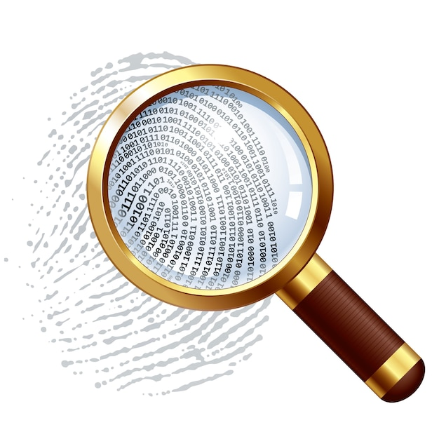 Fingerprint and magnifying glass organized by layers global colors gradients used Premium Vector
