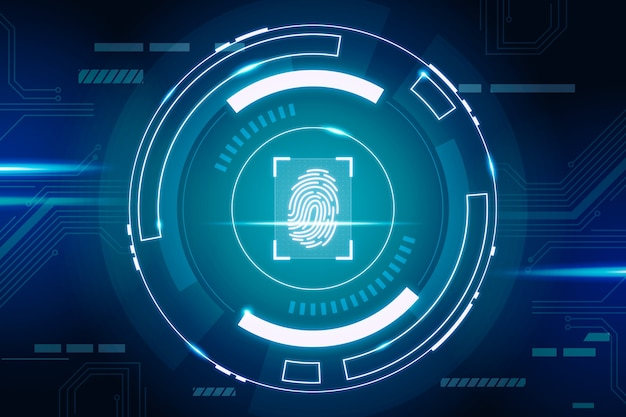 Fingerprint neon background Free Vector