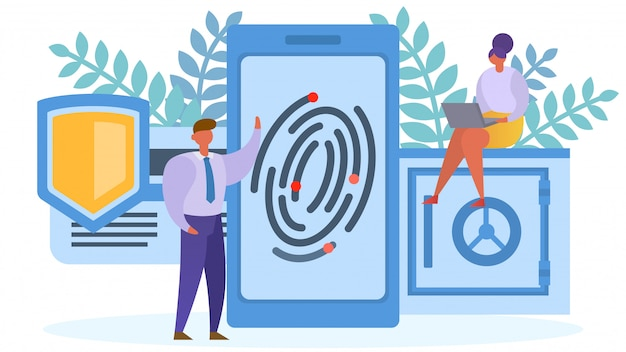 Fingerprint protection acess to smartphone concept,  illustration. security technology, network identity safety.  data Premium Vector