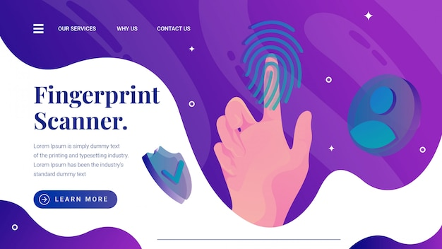 Fingerprint sensor scanner illustration Premium Vector