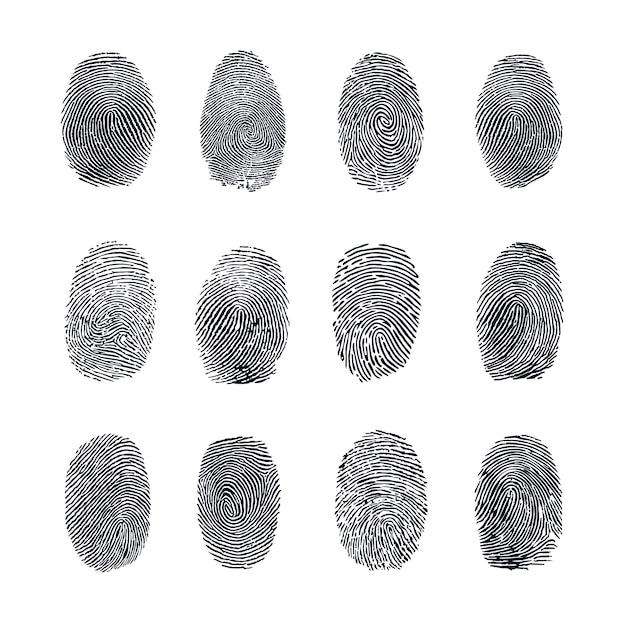 Fingerprint vector set Premium Vector