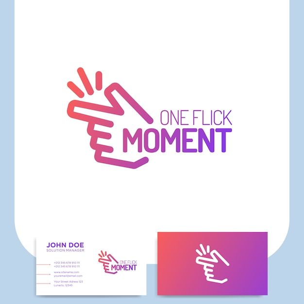 Fingers snap or clicking hand logo in line style with business card Premium Vector