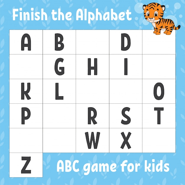 Premium Vector Finish The Alphabet. Abc Game For Kids. Education  Developing Worksheet.