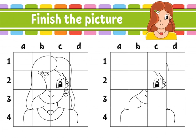 Завершите картину. раскраски для детей. рабочий лист развития образования. Premium векторы