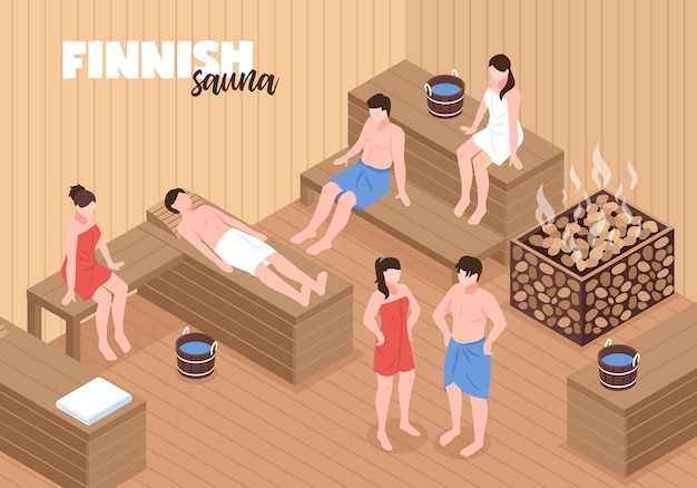 Finnish sauna with men and women on wooden benches and heater with stones  isometric vector illustration Free Vector
