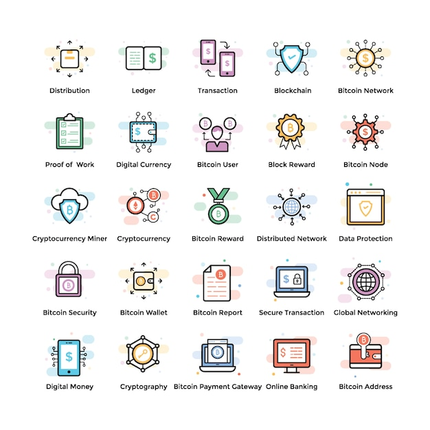 Fintech and blockchain icons Premium Vector