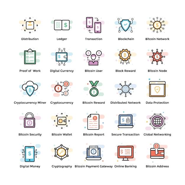Fintech and blockchain icons Premium Vector