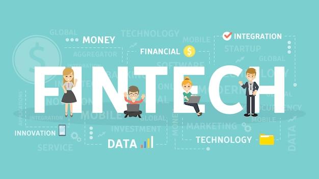 フィンテックの概念図。暗号通貨とブロックチェーンのアイデア。 Premiumベクター
