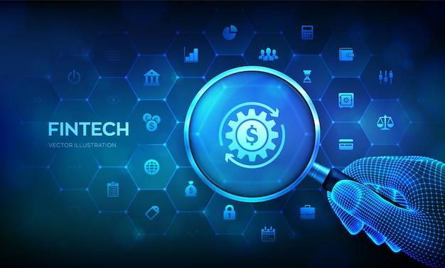 フィンテック。ワイヤーフレームの手とアイコンの虫眼鏡で金融技術コンセプト。 Premiumベクター