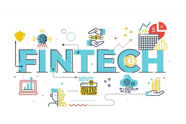Fintech(financial technology)単語レタリングイラスト Premiumベクター