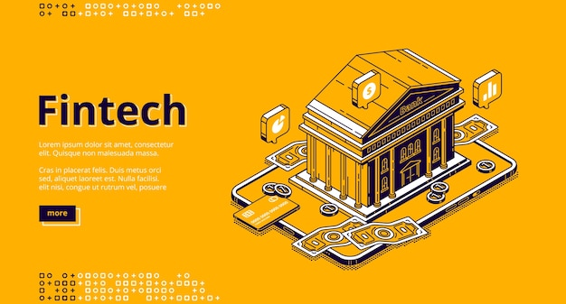 Fintech isometric landing page with bank building and money. financial technologies, digital solutions for banking business. software and mobile app for finance services, 3d line art web banner Free Vector